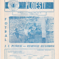 Program meci fotbal PETROLUL PLOIESTI - RULMENTUL ALEXANDRIA 22.03.1981