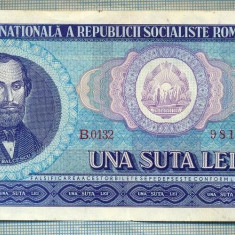 A1252 BANCNOTA-ROMANIA(RSR)- 100 LEI- 1966 -SERIA981622 -starea care se vede - Bancnota romaneasca