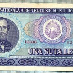 A1261 BANCNOTA-ROMANIA(RSR)- 100 LEI- 1966 -SERIA020991 -starea care se vede - Bancnota romaneasca