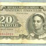 A1239 BANCNOTA-ROMANIA(RPR)-20 LEI- 1950 -SERIA0833023 -starea care se vede - Bancnota romaneasca