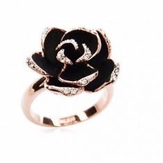 Inel placat filat aur 14k tip PANDORA GOLD ROSE trandafir negru gold filled - Inel placate cu aur