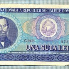 A1259 BANCNOTA-ROMANIA(RSR)- 100 LEI- 1966 -SERIA873178 -starea care se vede - Bancnota romaneasca