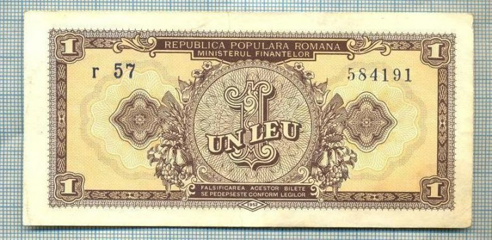 A1232 BANCNOTA-ROMANIA(RPR)- 1 LEU- 1952 -SERIA584191 -starea care se vede