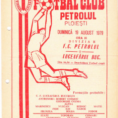 Program meci fotbal PETROLUL PLOIESTI - LUCEAFARUL BUCURESTI 19.08.1979