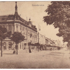 #1798- Romania, Temesvar, Timisoara c.p. circulata 1915: Strada Bonnaz, animat - Carte Postala Banat 1904-1918, Fotografie