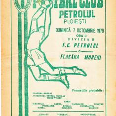 Program meci fotbal PETROLUL PLOIESTI - FLACARA MORENI 07.10.1979