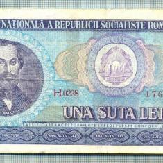 A1260 BANCNOTA-ROMANIA(RSR)- 100 LEI- 1966 -SERIA176163 -starea care se vede - Bancnota romaneasca