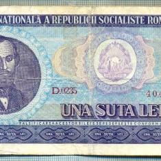 A1258 BANCNOTA-ROMANIA(RSR)- 100 LEI- 1966 -SERIA404895 -starea care se vede - Bancnota romaneasca