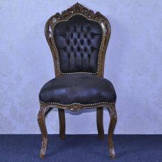 DCS16 - Scaun masa clasic baroc cadru maro / tapiţerie maro - Scaun living