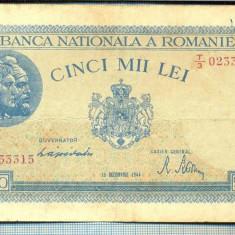 A1273 BANCNOTA-ROMANIA-5000 LEI-15DECEMVRIE1944-SERIA0233315-starea care se vede - Bancnota romaneasca