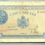 A1275 BANCNOTA-ROMANIA-5000 LEI-10OCTOMVRIE1944-SERIA0424672-starea care se vede