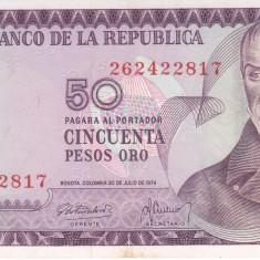 Bancnota Columbia 50 Pesos Oro 1974 - P414 aUNC - bancnota america