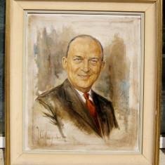 Portret tablou pictura in ulei pe panza lucrare inramata semnata