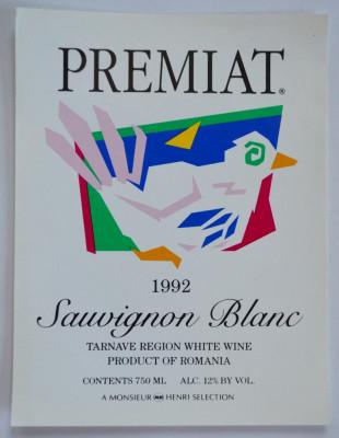 Eticheta romaneasca pentru vin - Souvignon Blanc - Tarnave 1992 foto