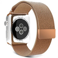Curea pentru Apple Watch 42mm Otel Inoxidabil iUni Rose Gold Milanese Loop