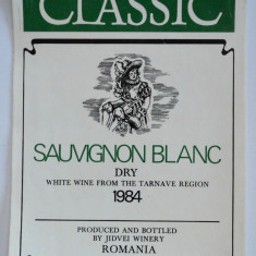 Eticheta romaneasca pentru vin - Souvignon Blanc - 1984