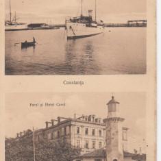 CONSTANTA, VAPORUL PRINCIPESA MARIA, FARUL SI HOTEL CAROL, 1917 - Carte Postala Dobrogea dupa 1918, Necirculata, Printata