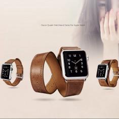 Curea ceas iCarer piele Apple watch 38mm, 3in1: single, double tour, manseta - Curea ceas piele