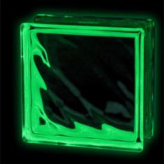 Caramida sticla fosforescenta verde model valuri