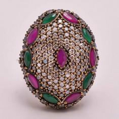Inel argint 925 cu Rubin si Smarald - 18, 72 g, marime 9