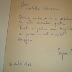 Carte cu autograf de la Grigore Arbore pentru Nichita Stanescu