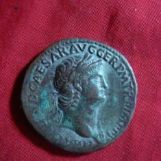 Sestert Imparat Germanicus -revers Decussio- Copie veche, bronz, cal.f.buna - Moneda Antica
