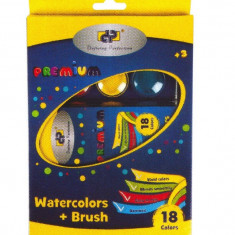 Acuarele 18 culori + pensula premium