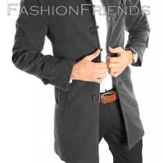 Palton tip ZARA gri - palton barbati - palton slim fit - cod 2215, Marime: S, M, L, XL, XXL, Culoare: Din imagine