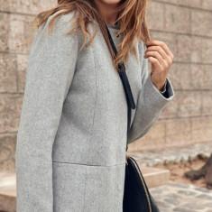 Palton din lana, guler rotund - Vero Moda - art. 10159255 gri melange - Palton dama Vero Moda, Marime: 42, 40, 38