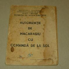 Autorizatie macaragiu - Autocamioane Brasov - BV - 1982 - 2+1 gratis - RBK17556 - Pasaport/Document