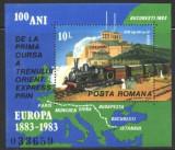 Romania 1983 - TRENUL ORIENT EXPRES, colita nestampilata AK6, Nestampilat
