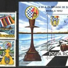 Romania 1992 - OLIMPIADA SAH MANILA, serie si colita nestampilata, AK10