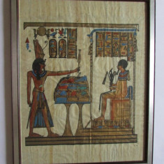 TABLOU-arta egipteana-pictura pe papirus,vintage