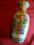 Vas din Portelan China ,h=21cm ,Dgura=5,5 cm ,D.baza=5 cm -frumos ornamentat