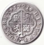 Regatul Spaniei - 2 Reales 1721 - Sevilla - Argint, Europa