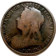 MAREA BRITANIE, VICTORIA, 1 PENNY 1896, DIAMETRU 31mm., Europa, Cupru (arama)