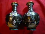 Set 2 vaze cloisonne vechi ,H=15,5 cm, D.gura=4cm, D.baza=5cm