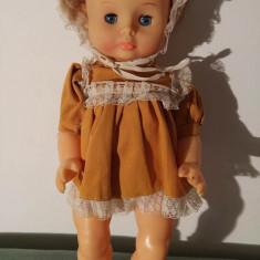Papusa /papusica bebelus Aradeanca, cauciuc, cu rochita originala, anii 70, 40cm - Papusa de colectie