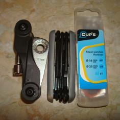 Kit reparatii bicicleta - geanta + set chei (2 unelte multifunctionale) + petece