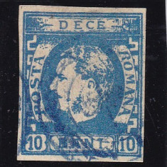 ROMANIA 1869, CAROL I CU FAVORITI NEDANTELAT VAL. 10 BANI ALBASTRU STAMP. - Timbre Romania, Stampilat