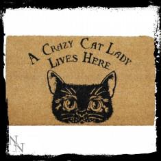 Preș ușă intrare Femeie nebună cu pisici - Covoras intrare