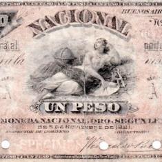 1883 (1 I), 1 peso (P-S676S) - Argentina! (CRC: 100%) SPECIMEN!!! - bancnota america