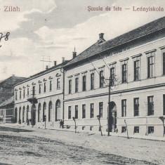 ZALAU - ZILAH, SCOALA DE FETE, ED. LIBRARIA TOROK PAPIRK., ZALAU - Carte Postala Crisana dupa 1918, Necirculata, Printata