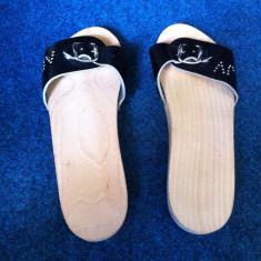 Papuci / slapi din lemn natural si piele, masura 39, ca NOI ! - Papuci dama, Culoare: Antracit