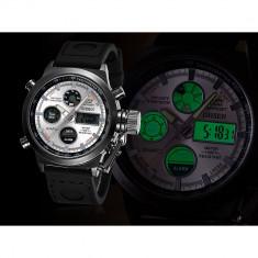 Ceas Sport/Militar, Dual Display, Rezistent la Apa, Timer, Alarma, etc - Ceas barbatesc, Quartz, Inox, Cauciuc