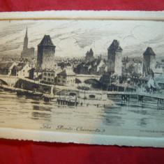 Gravura Strasburg - Poduri- Les Ponts Couverts, semnat Ch.Pinet, format c.postal