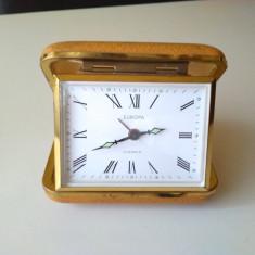Ceas vechi de masa, calatorie, birou EUROPA, German, Mecanic - Ceas de masa