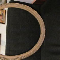 CY - Rama veche ovala mare din lemn brad si ghips pentru tablou - Rama Tablou, Decupaj: Dreptunghiular