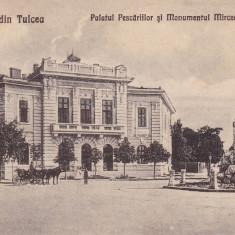 SALUTARI DIN TULCEA, PALATUL PESCARIILOR SI MONUMENTUL MIRCEA CEL MARE - Carte Postala Dobrogea dupa 1918, Necirculata, Printata