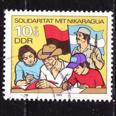 Timbre GERMANIA DDR 1983 = SOLIDARITATE CU NICARAGUA - Timbre straine, Stampilat